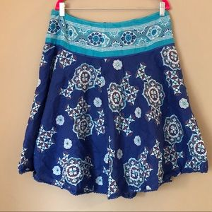 Cotton skirt, layered blue print with sequin trim
